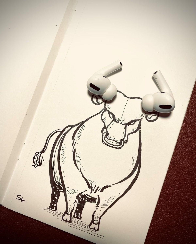 Ces dessins très créatifs de Sam Lay jouent avec les objets posés à côté